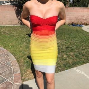 Herve leger red and yellow rainbow dress